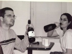 I've posted this before, but this was us ages ago drinking champagne (Dom and rotgut) at a fishing camp.