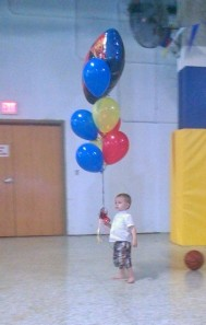 "And the dude along for the ride - just ""borrowing"" some balloons."