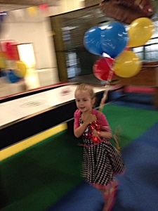 Running with balloons.  Better than scissors.
