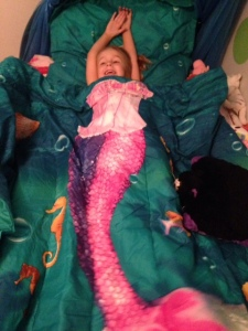 And what helped make coming home easier?  Our new mermaid bedding.